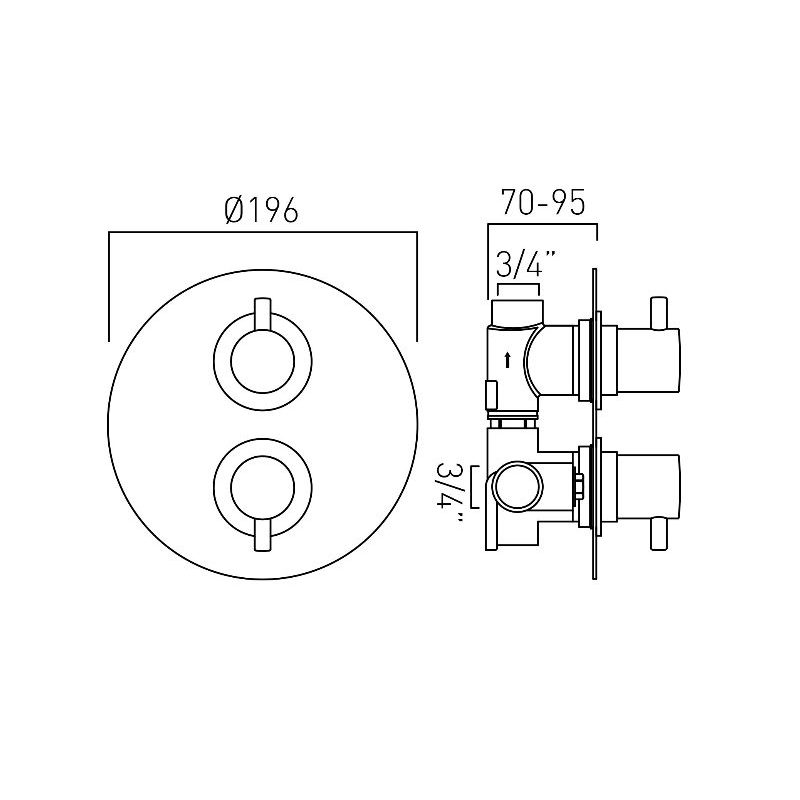 Vado Celsius 1 Outlet 2 Handle Thermostatic Valve