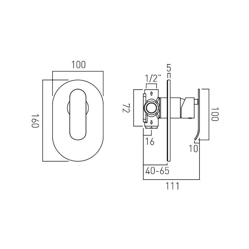 Vado Kovera Manual Shower Valve