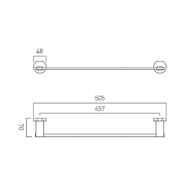 Vado Kovera Double Towel Rail 500mm