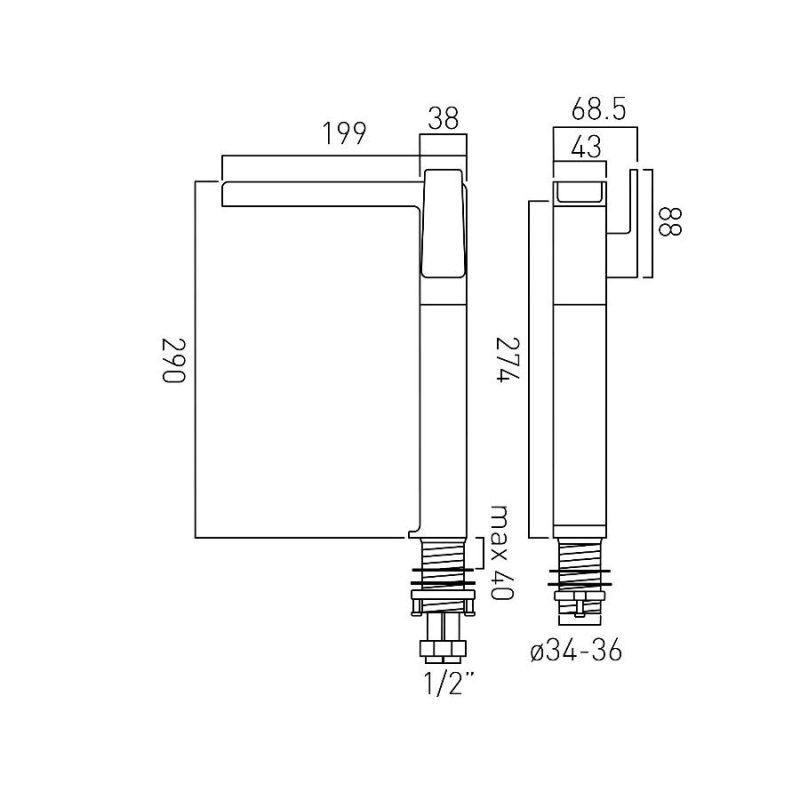 Vado Synergie Progressive Extended Mono Basin Mixer
