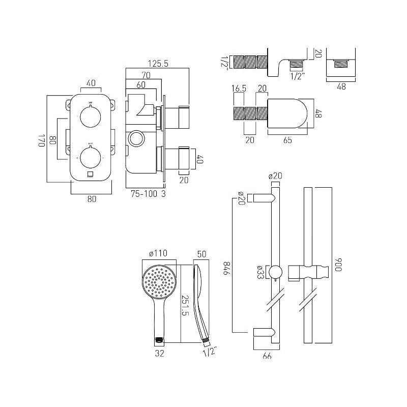 Vado Altitude 1 Outlet Thermostatic Shower Set