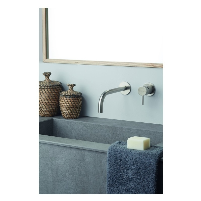 Vema Tiber Wall Mounted Basin Mixer Stainless Steel