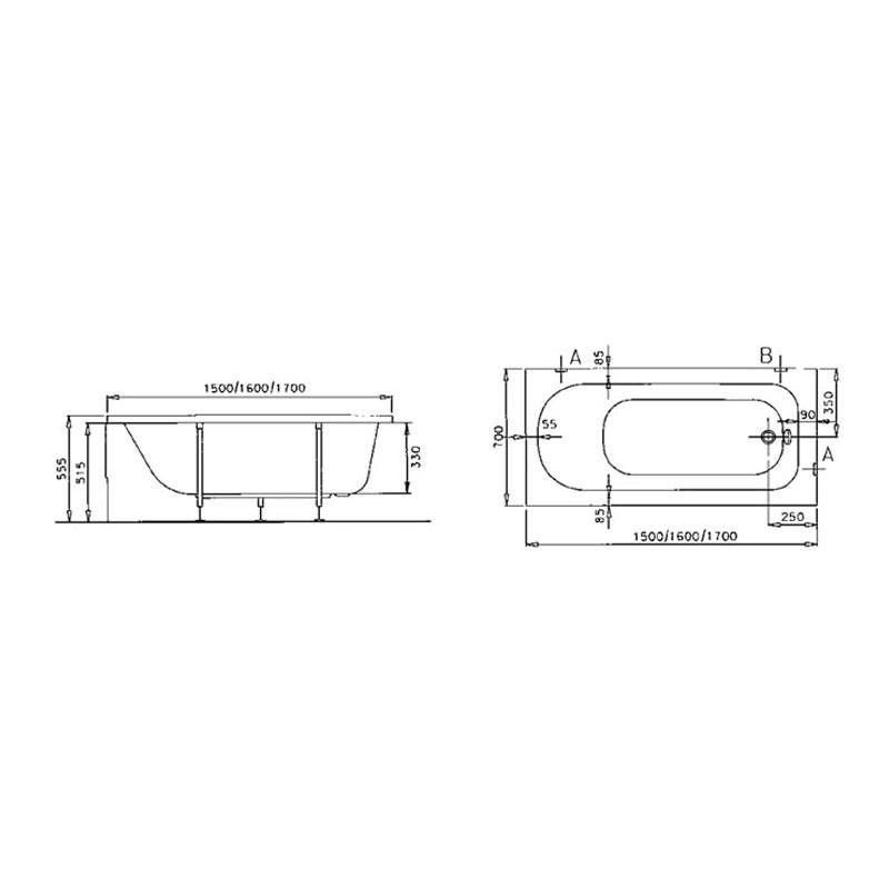 Vitra Optima Standard Bath 160x70cm No Taphole White
