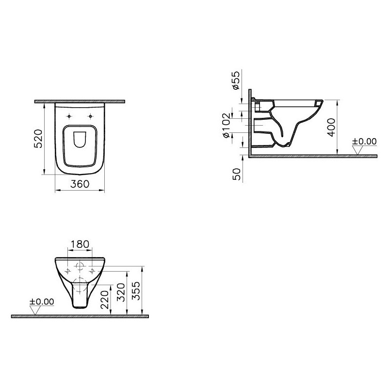Vitra S20 Wall-Hung Toilet with Standard Seat