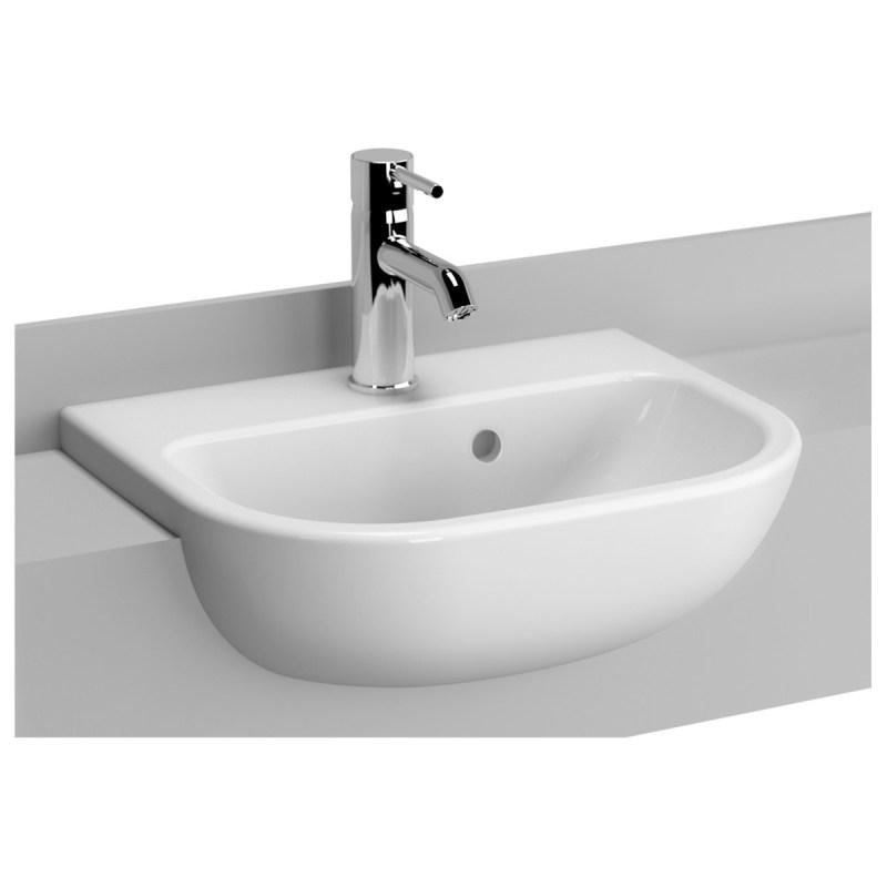 Vitra S20 Semi Recessed Basin 45cm 1 Taphole Short Projection