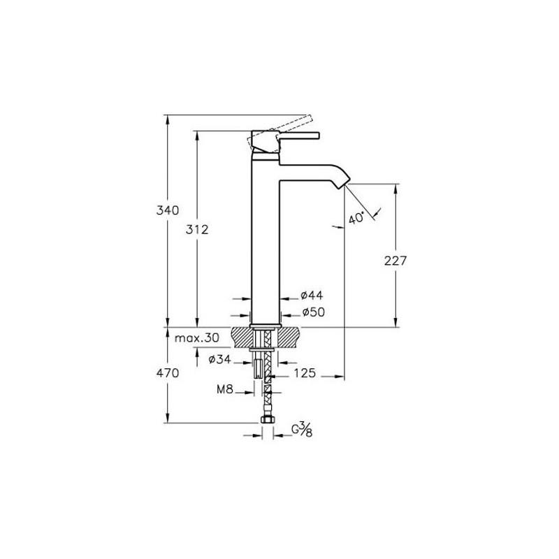 Vitra Minimax S Basin Mixer for Bowls Chrome