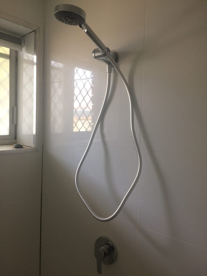 Shower after renovations by a professional plumber.