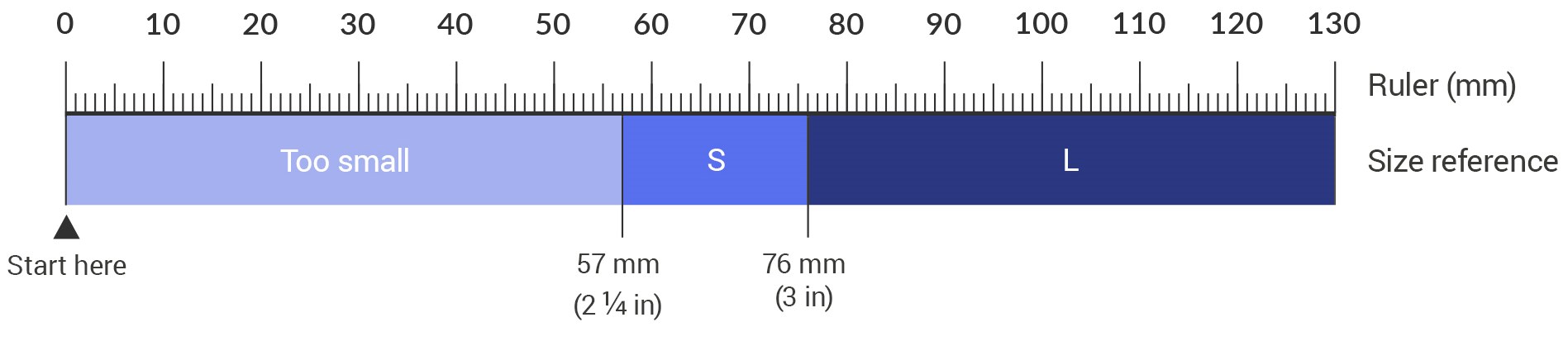 You may also print this ruler to measure your hands width. Place the end of your hand next to the start here marker and see which strap will be more comfortable for you