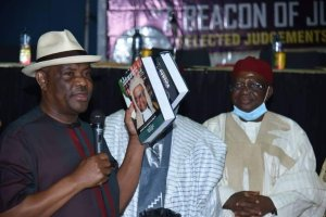 Governor Nyesom Wike, Governor Ishaku at the Book Launch and Birthday Celebration of Justice Galumje at Abuja.