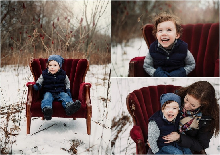 oshawa mini sessions winter red chair