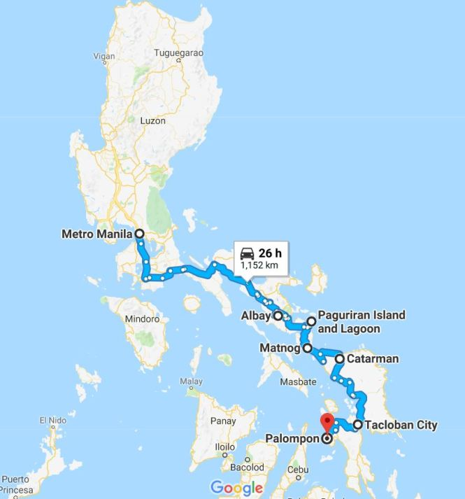 Manila to Leyte road trip route in Google maps