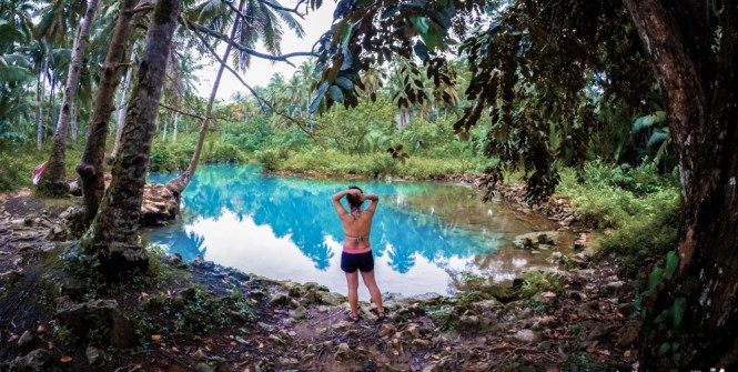 An undeveloped cold spring - backpacking in the Philippines