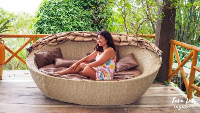Kat in lounge sofa in San Rafael River Adventure
