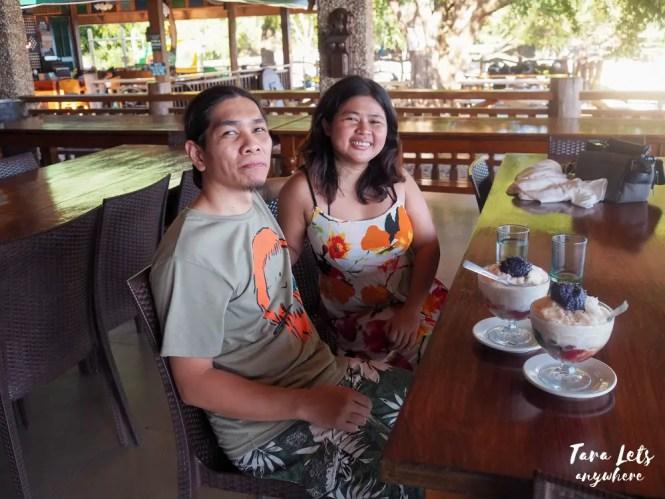 Couple shot at merienda in Punta Verde Resort