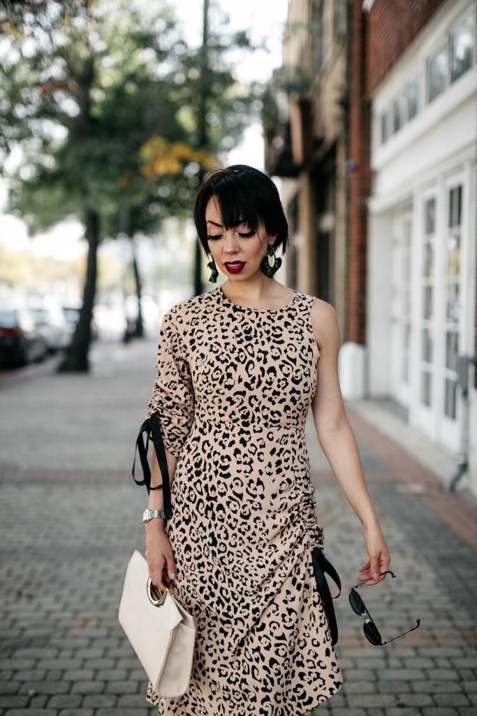 cinched animal print dress