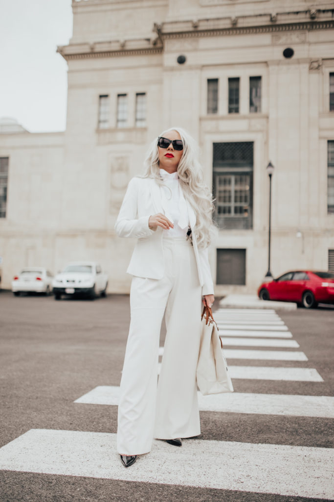 all white monochrome look