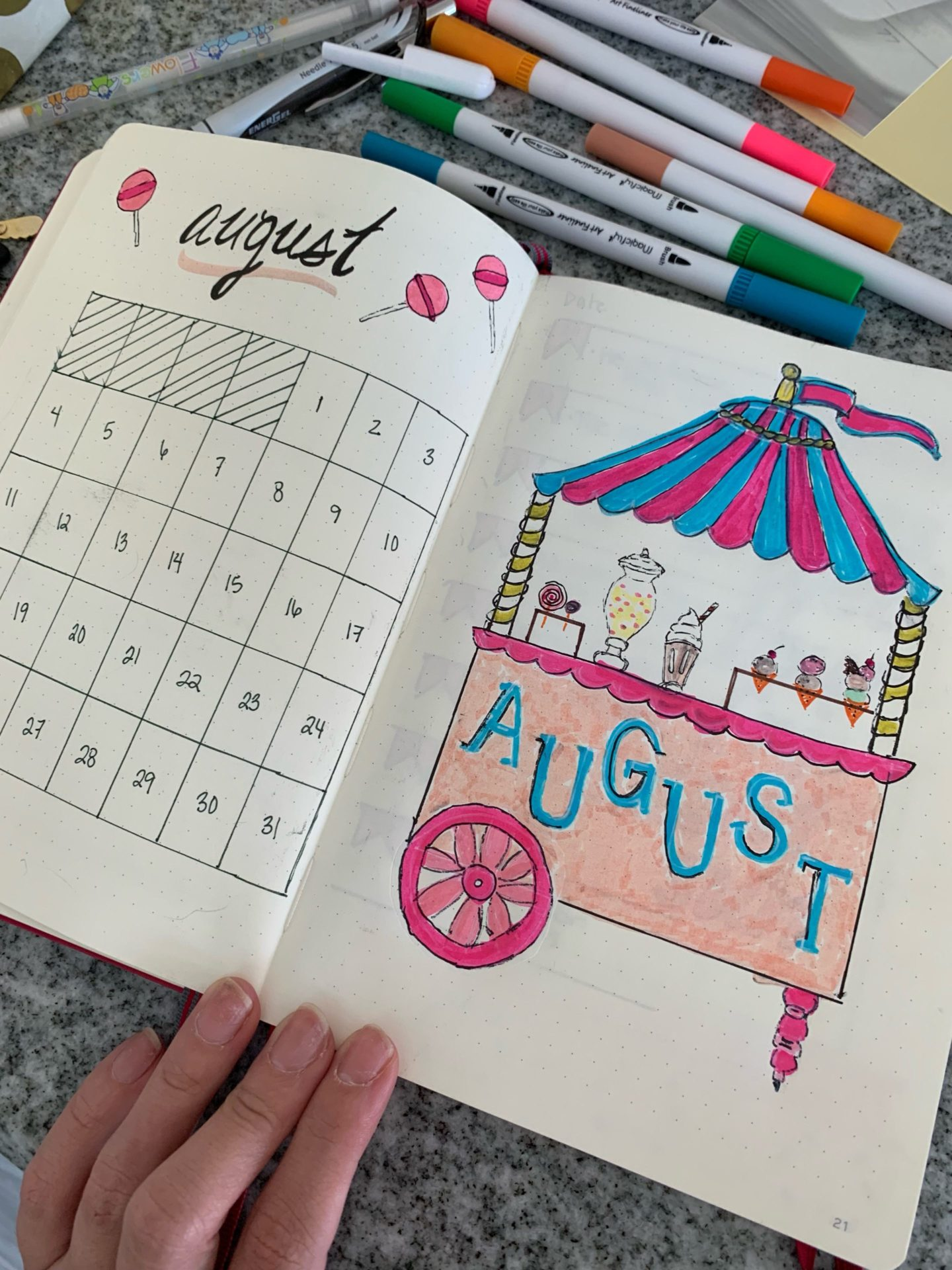 ice cream stand bulllet journal