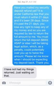 Security Deposit Texts