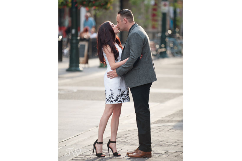 couple stop for a kiss during their engagement session captured by Tara Whittaker Photography