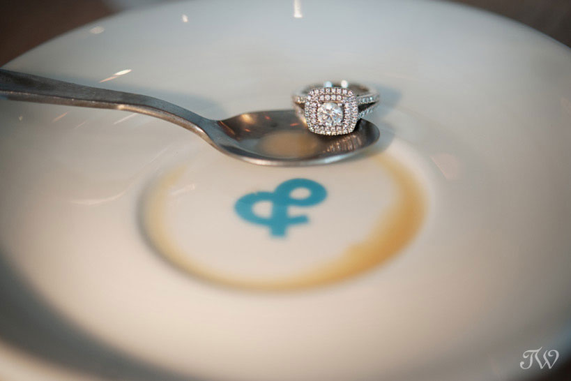 ring shot during a coffee shop engagement session by Tara Whittaker Photography