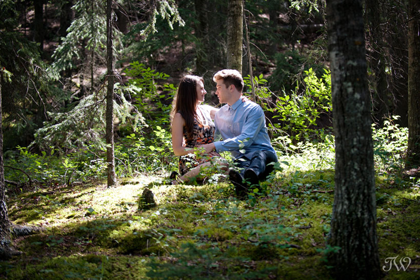 engagement session in the woods captured by Calgary wedding photographer Tara Whittaker