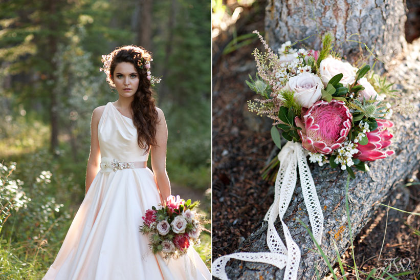 bridal bouquet with pink protea created by Flowers by Janie