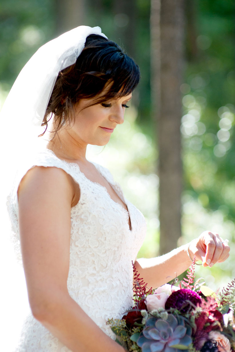 Canmore bride holding her bouquet from Willow Flower Co.