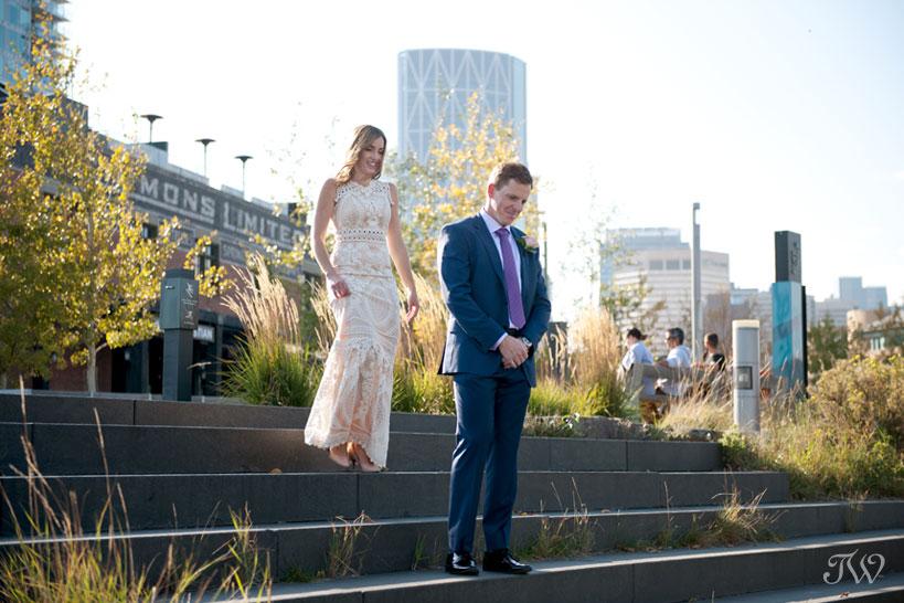 First look between bride and groom before their Charbar Calgary wedding