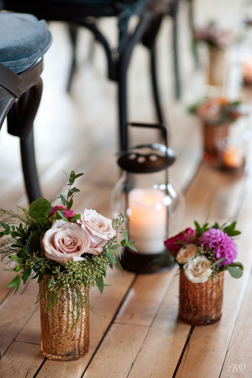 Floral details at a Charbar Calgary wedding captured by Calgary wedding photographer Tara Whittaker