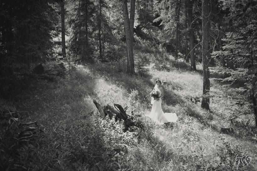 bride before her mountain wedding captured by Calgary photographer Tara Whittaker