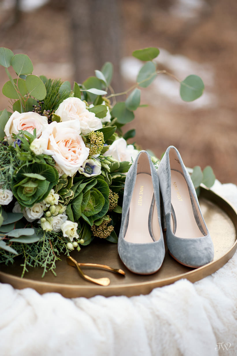 Velvet shoes from Nine West captured by Calgary wedding photographer Tara Whittaker