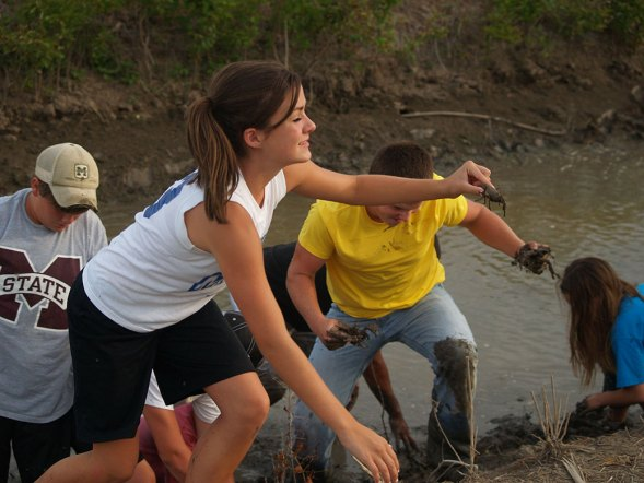 Looking for crayfish along the stream