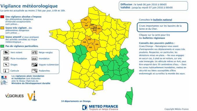 Inondations. 14 départements restent en alerte orange ce lundi