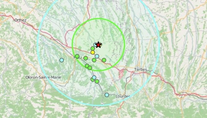 Tremblement de terre entre Pau et Tarbes