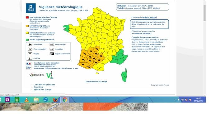 Orages Violents. Tarbes et les Hautes Pyrénées en alerte orange mardi