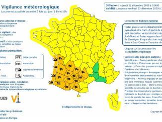 Tarbes Hautes Pyrénées, l'alerte météo vigilance orange prolongée
