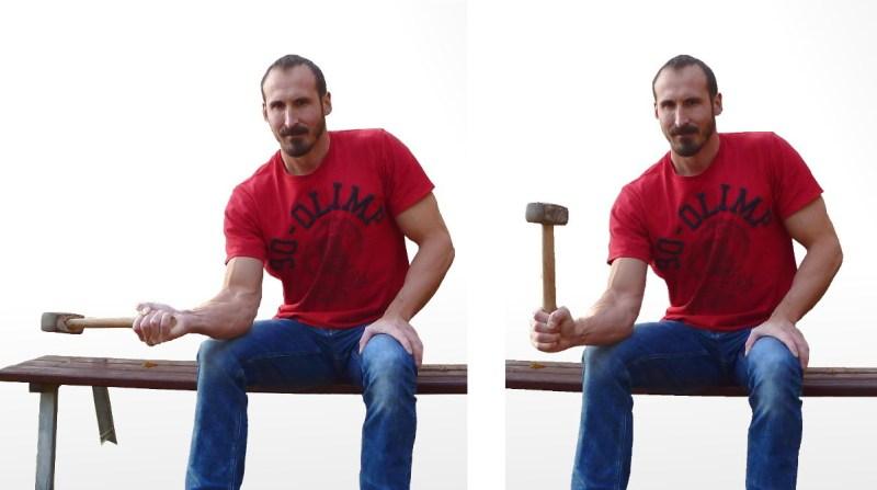 Übung für den Pronator Teres – Start (links) und Ende (rechts)