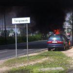 Samochód zapalił się na Radzymińskiej [WIDEO]