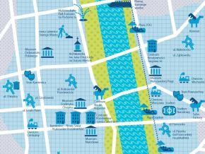 Na mapie zaznaczono elementy rewitalizacji Warszawy w latach 2005-2013. Ciekawe, jak będzie wyglądała taka mapa za kilka lat...