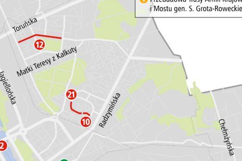 Fragment mapy ZDM z planowanymi remontami na 2014 r.