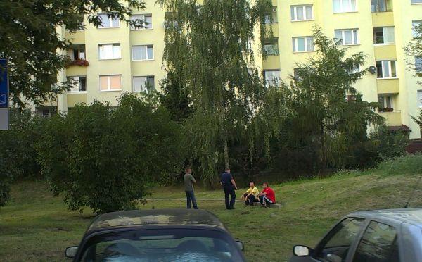 Policjant zaczyna interwencję. Za chwilę kazał  podnosić koszulki do góry, żeby sprawdzić czy panowie nie chowają butelek / fot. targowek.info
