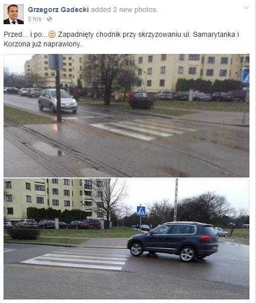 Wpis wiceburmistrza Gadeckiego na Facebooku