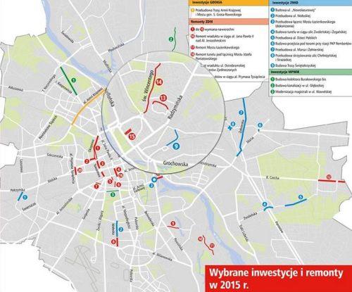 Mapa miejskiego Biura Koordynacji Inwestycji w Pasie Drogi
