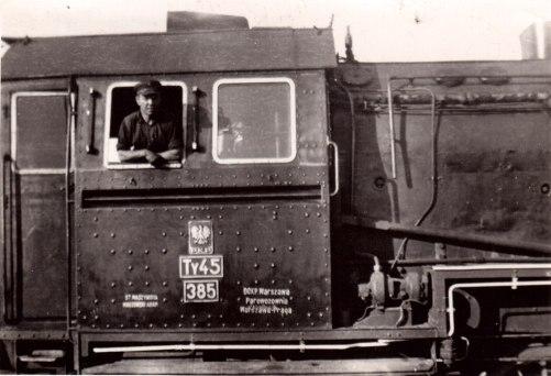 Parowóz na stacji Warszawa-Praga w 1956 roku, zdjęcie autorstwa Wiesław Milewskiego
