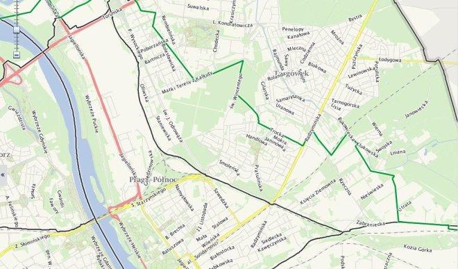 Granica Warszawy z 1916 roku zaznaczona jest zieloną linią / mapa UM