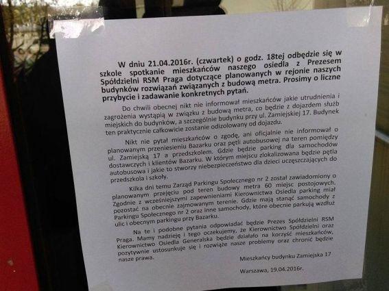 Ogłoszenie mieszkańców Zamiejskiej 17 / fot. Dariusz