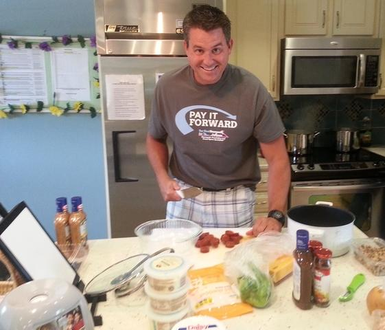 preparing food at the Ronald McDonald House