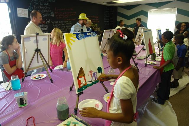 Painting canvas with children