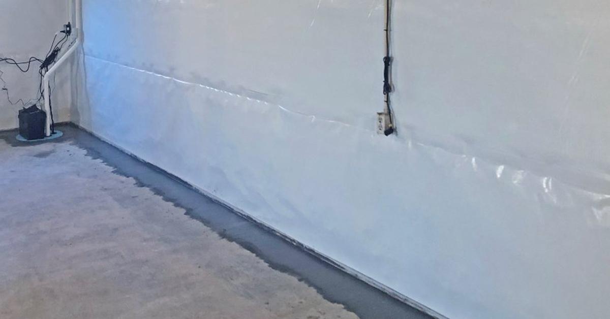 installed vapor barrier and waterproofing