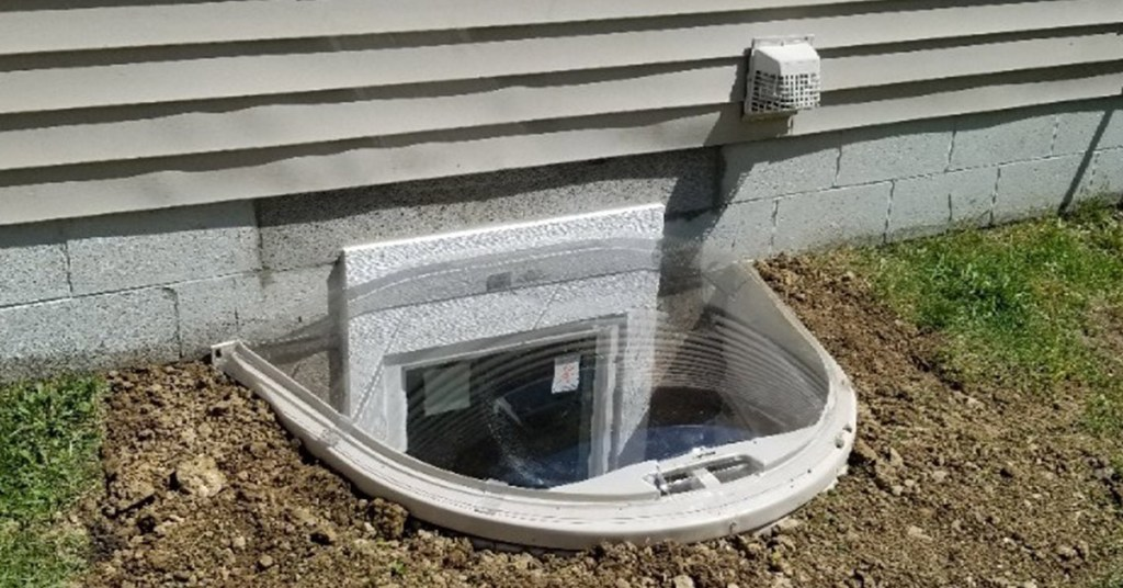 installed egress window well cover